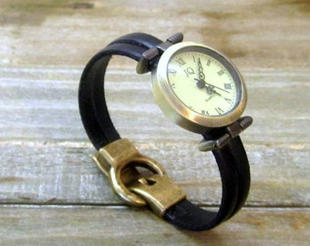 Watch Leather Bracelet with 2 strips of black, Bronze dial, loving clasp. Gift for woman