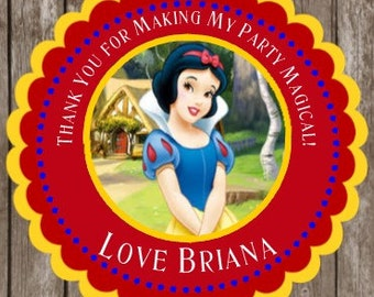 Snow White Birthday Stickers   Thank You Stickers