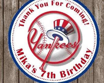 NY YANKEES Baseball Birthday Stickers   Thank You Stickers