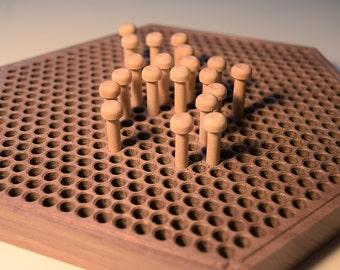 Walnut Hexagonal Pegboard - solid wood pegboard