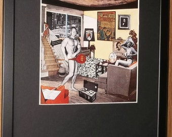 Mounted and framed Pop Art print, 12''x16'' frame, Just What Is It by Richard Hamilton