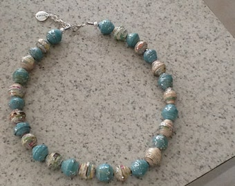 Beautiful Paper Bead Necklace, Touch of sparkle.
