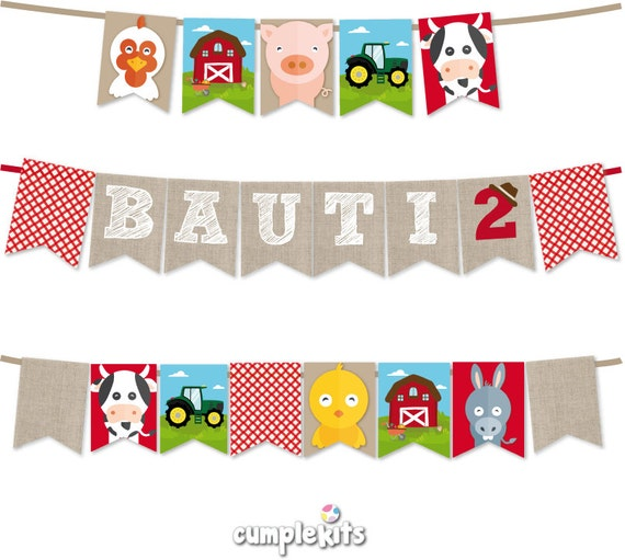 Farm Animals Banner. Bunting. Personalized and ready to print ...