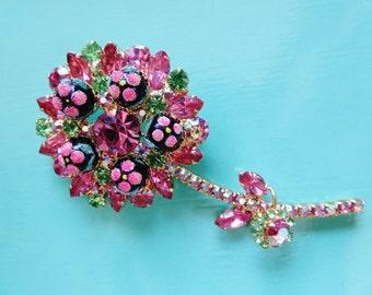 Vintage D & E Juliana Pink polka Dot Brooch Pin
