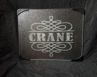 Glass etched cutting board