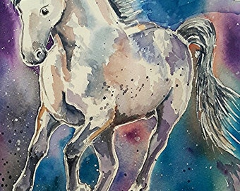 A horse of another colour - a watercolour paintings of s spanish horse - by Sue