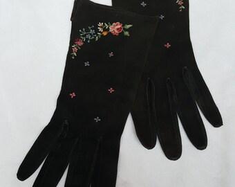 Vintage lambskin suede black leather gloves 1935