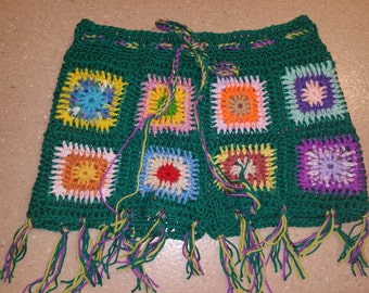 Granny square crocheted tie up shorts with tassel's. Women's one size fits all, Winter\Summer.