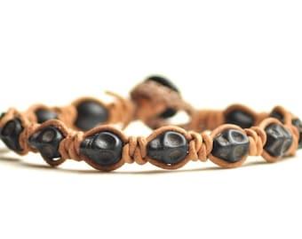 Black Skulls & Rawhide Leather Bracelet