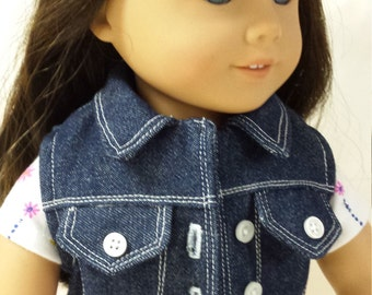 "Discounted Denim Vest for 18"" Doll"