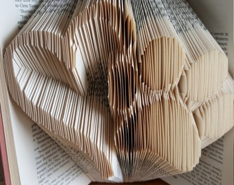 Folded book art Heart and Pawprint