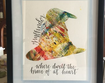 Harry Potter Splatter Art, The Sorting Hat Gryffindor Quote