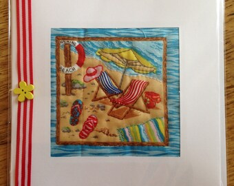 Hand Quilted Card Seaside Summer View Beach Sandcastle