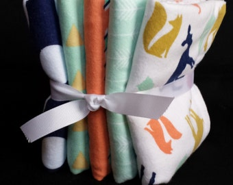Baby Burp Cloths – Set of 5 or Set of 3 - Forest Animals