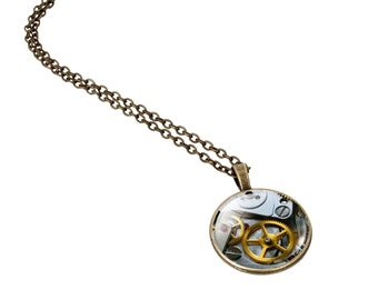 Steampunk Necklace Pendant, Type 1 Vintage Style, Mechanical Watch Gear Glass Cabochon, Bronze Chain