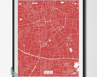 Heide Map, Germany Poster, Heide Poster, Heide Print, Germany Print, Germany Map, Schleswig-Holstein, Street Map, Dorm Decor