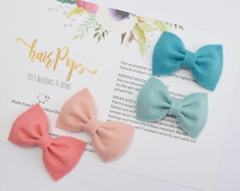 Set of 4 Felt Bow Clips | Baby Kids Hair Accessories | Baby Kids Bows | Peacock, Swan, Blush & Coral Hair Bows