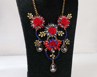 Beautiful Statement Floral Necklace, Evening Necklace, Tribal Jewelry