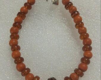 Orange Turquoise and Amber Beaded Bracelet