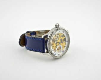 Handmade leather watch strap.Strap is made in your size.