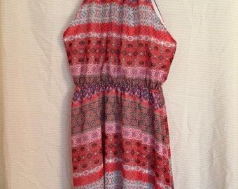 Vintage Floral and Aztec Print Summer Dress, Size Medium