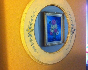 Round Wooden Framed Mirror with Flowers Country Style