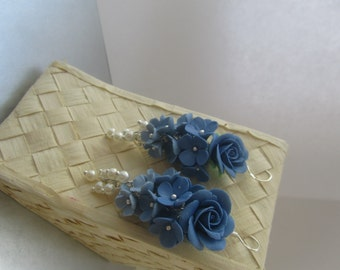 Earrings-grapes with blue flowers. decoration for the bride.