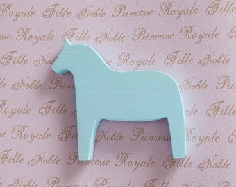 Wooden Horse Dala Kids Toy Wood Blue Horse Scandinavian Style Home Decor