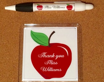 Thank you teacher gift coaster and pen. Teaching assistant gift. Personalised coaster and pen.