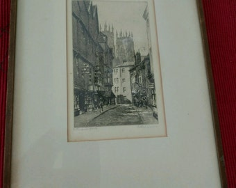 Antique British Etching - Petergate Road, Peterborough