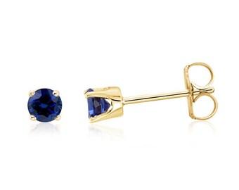14K Blue Sapphire Earrings - 14K Yellow Gold Genuine Blue Diamond-Cut Sapphire Gemstone Stud Earrings - 3mm Round- September Birthstone