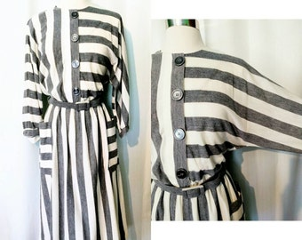 Leslie Fay Gray and White Striped Button Up Dress