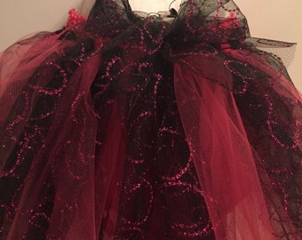 Black and Pink dog tutu, Fuschia dot dog skirt