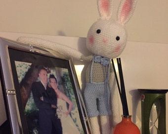 Handmade Amigurumi crochet cute bunny-boy rabbit