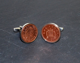 Polished Decimal Penny Cufflinks in Cool Gift Box