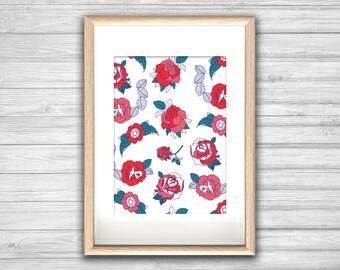 "Affiche ""Rosa Me"" - Affiche rose tattoo fleur - st valentin, affiche deco, impression d'art, Illustration, Art mural, illustration tendance"