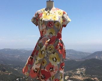 Floral print midi dress /60s insprired /midi floral dress