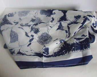 Vintage Vera Neumann dark blue and white polyester square scarf floral print made in Japan in the seventies ladies head hair or neck wrap