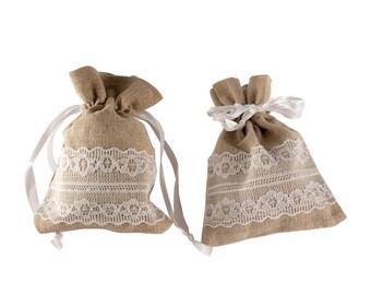 """Burlap/Lace pouches - 30 bags 3.5"""" x 4.5"""""""