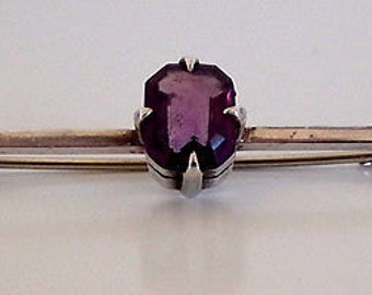 Victorian silver bar pin/brooch with a amethyst.