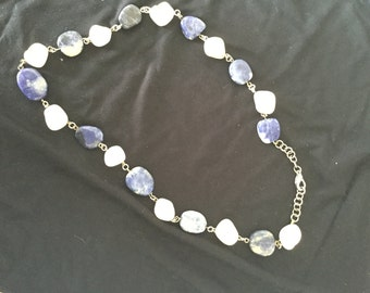 White and blue stones necklace
