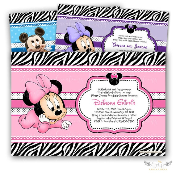 Minnie and Zebra Print Baby Shower Invitations & Blank Thank You Card to match