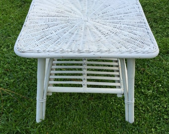 Bamboo  Wicker Table White Chippy Paint