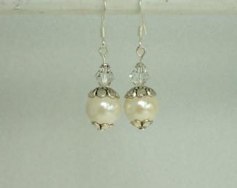 Ivory Hemalyke Swarovski Crystal Beaded Dangle Drop Earrings