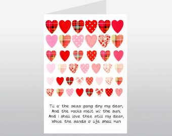 Scottish Lovey Dovey Card Til a the Seas Excerpt from Robert Burns Poem WWLD09