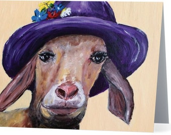 Goat in Flower Hat Note Card