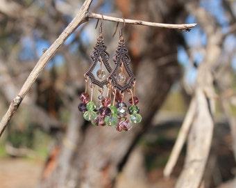Copper Chandelier Lampwork Glass & Swarovski Crystal Earrings