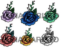 American Traditional Flower Temporary Tattoo/Sticker (color)