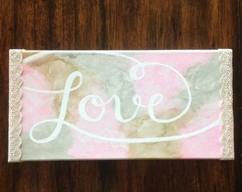 "Pink ""Love"" Canvas"