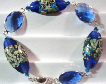 Bracelet: Atlantis Lampwork Beads, Faceted Sapphire Glass/SP Oval Links, Caribbean Blue Opal AB 2X Swarovski Crystals, & Sterling Mag Clasp